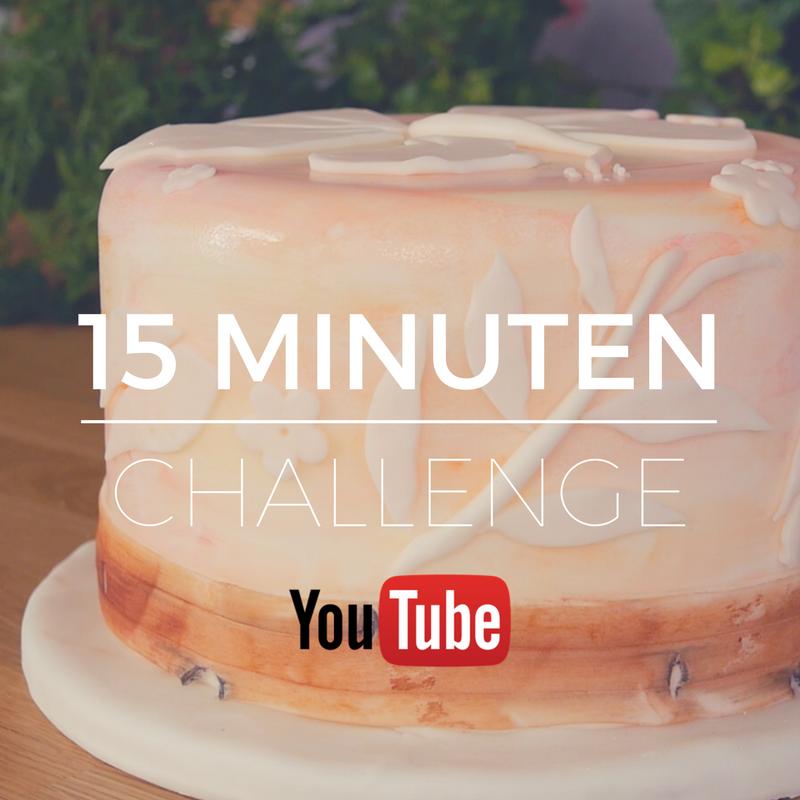 15 Minuten Challenge auf YouTube - Techniken fürs Tortendekorieren: Aquarellmalerei, stilisierte Hibiskusblüte und Bambusbordüre