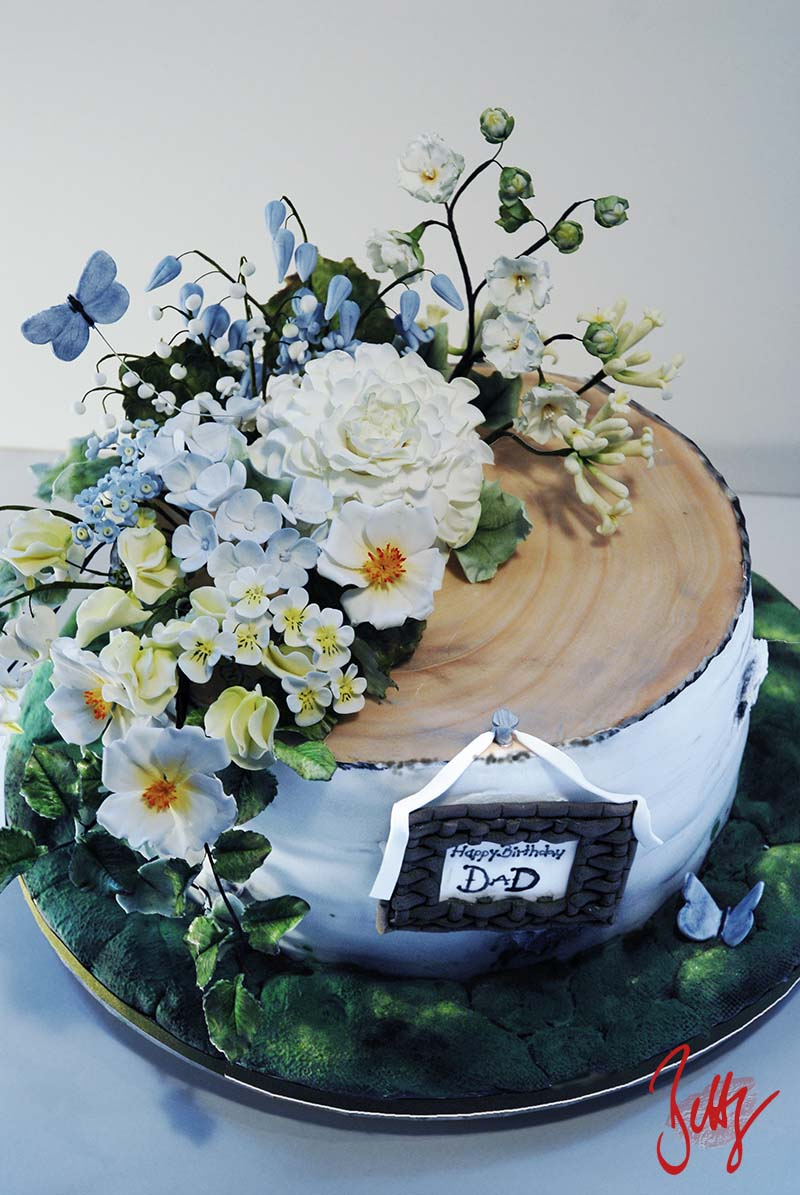 Holzoptik-Blumen-Motivtorte-Fondant-Geburtstag-Hochzeit-Betty