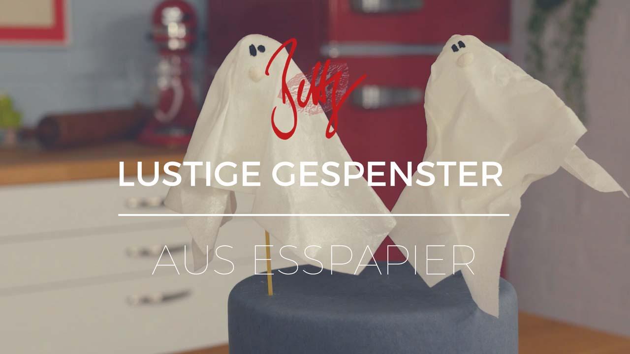 Lustige Gespenster aus Esspapier - Halloween Deko für Torten und Cupcakes