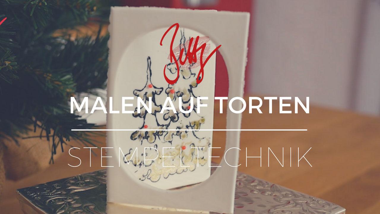 Malen auf Torten und Fondant mit der Stempeltechnik - Weihnachtskarte aus Blütenpaste mit Tannenbaum