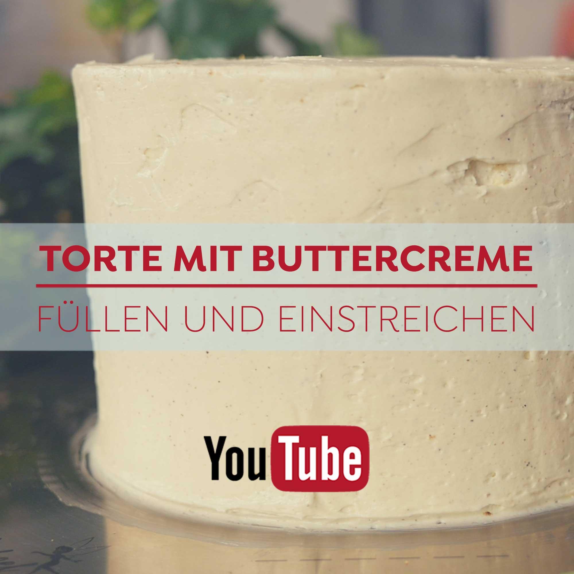 Torte mit Buttercreme füllen und einstreichen